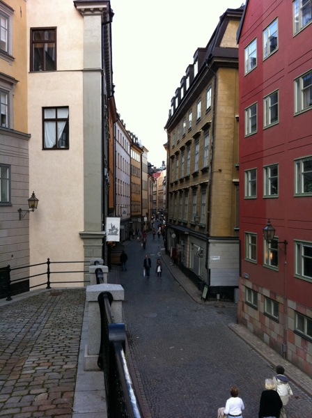A winding street in Gamla Stan