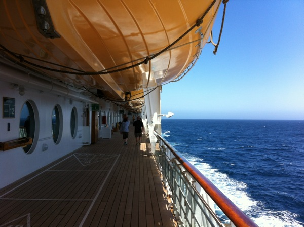 The promenade deck on the Disney Wonder