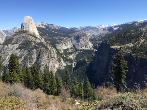 View of Half Dome and falls from Glacier Point
